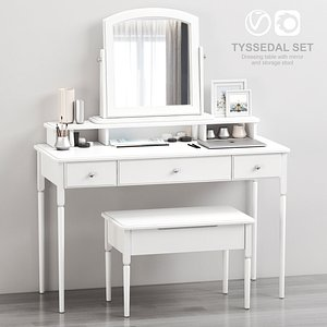 3D IKEA TYSSEDAL Dressing table with mirror and storage stool