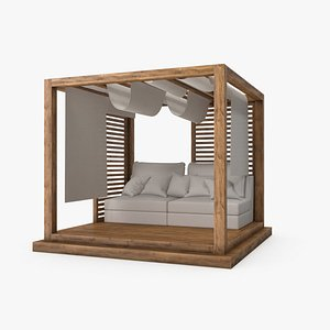 Wood Outdoor Pergola with Sofa and Curtains 3D model