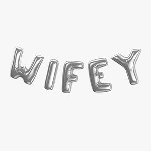 3D Foil Baloon Words Wifey Silver
