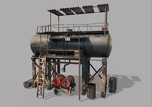 Post-Apocalyptic Oil Station 3D model