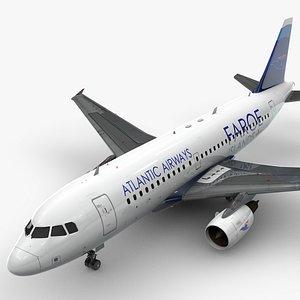 3D AirbusA319-100Atlantic AirwaysL1455 model