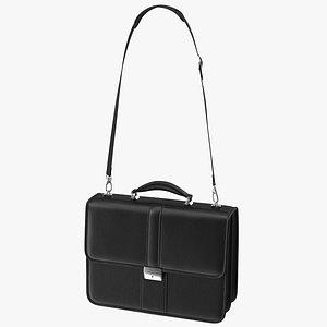 Classic Leather Briefcase Black 3D model