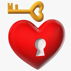 Heart with Keyhole and Key 3D model