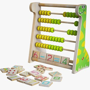 3D model wooden abacus