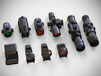 Sight Attachments Pack - PBR – Optical - Scope - Reflex – Red Dot – Coyote - Holographic