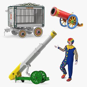 3D Clown with Circus Equipment Collection