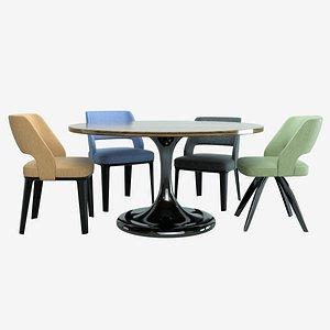 3D Minotti Neto Table And Owen Chairs - Cinema 4D Octane PBR model