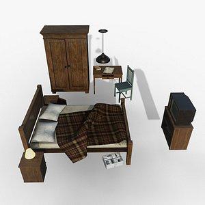 Old Bedroom Furniture 3D model