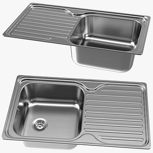 3D Single Bowl Kitchen Sink with Drainboard model