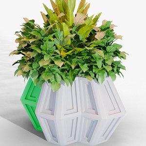 flower print pot 3D