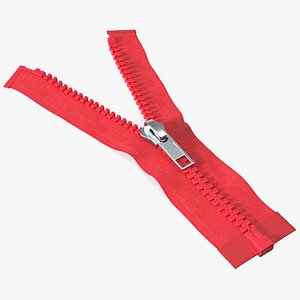 One Sided Plastic Zipper Opened Red 3D model