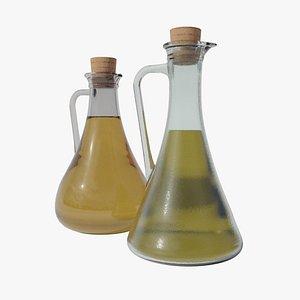Olive oil and vinegar bottles 3D model