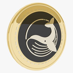 3D model Blue Whale EXchange Cryptocurrency Gold Coin
