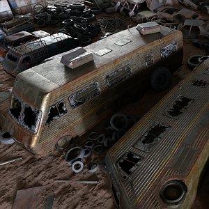 junkyard car - debris 3D model