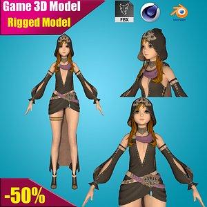 3D girl rigged cartoon