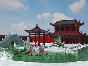 3D Chinese Garden Pavilion