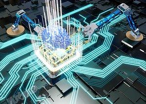 3D The human brain intelligent robot arm chip 5G AI chip technology chip technology industry big data d model