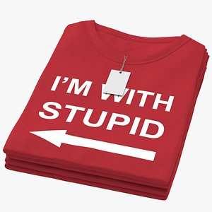 3D model Female Crew Neck Folded Stacked With Tag Red Im With Stupid 01