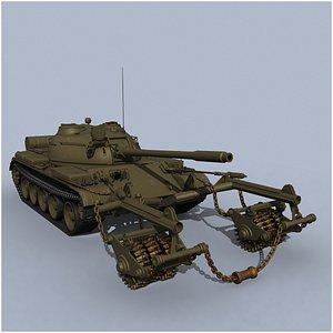 T-55 KMT-5M mine roller 3D model