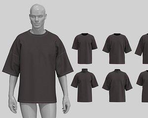 Streetwear fit basic t-shirts MD CLO 3D .zprj project files 3D