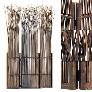 3D Screen thin branch wood decor n3 model