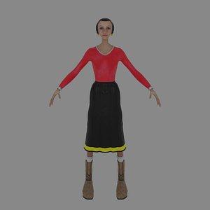 Olive Oyl Caricature 3D model