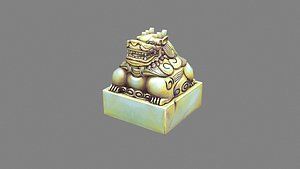 Cartoon jade unicorn seal 3D
