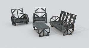 Wooden Bench and Table 3D model