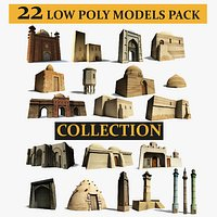 Low Poly Middle East City Buildings and Eastern Architecture Pack