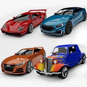3D Unity 3D Generic Sports Cars Set 02 model