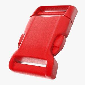 Contoured Side Release Plastic Buckle Red 3D model