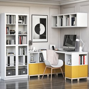IKEA corner workplace with EKET storages and BILLY OXBERG bookcase 3D