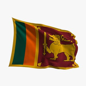 Realistic Animated Flag - Microtexture Rigged - Put your own texture - Def Sri Lanka 3D model