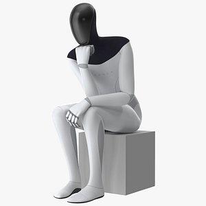3D Tesla Bot Thinker Pose