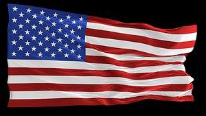 USA flag, Animated 3D model
