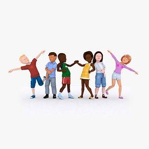 LowPoly Little Kids Rigged Bundle 3D model