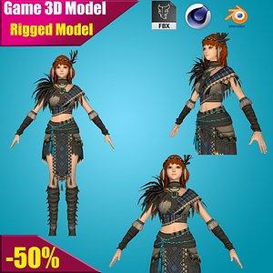 girl japanese fighter 3D