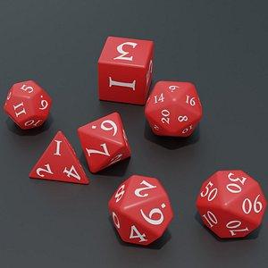 RPG dice asset Red 3D model