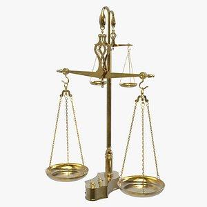 3D Antique Double Balance Scale model