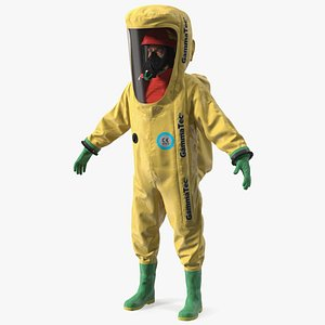 Heavy Duty Chemical Protective Suit Neutral Pose Yellow 3D
