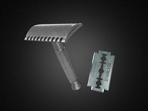 Vintage safety razor shaving and blade 3D model