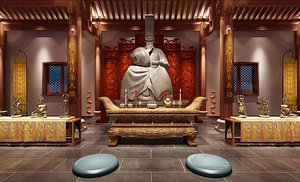 Temple Buddhism Shaolin Temple Taoist temple meditation Buddhist statue 3D