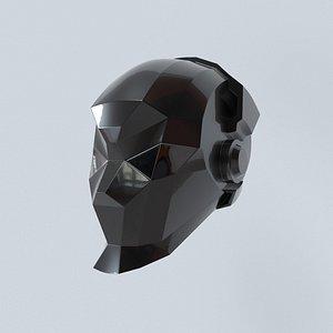 techno helmet visualized printed 3D model