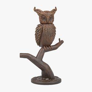 3D model wooden owl sculpture