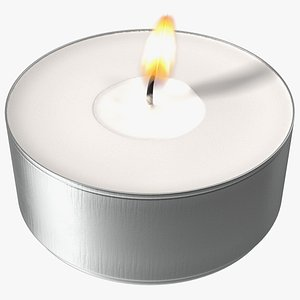 Burning Tealight Candle in Metal Cup 3D model