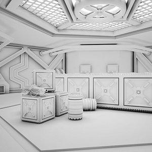 3D Sci-fi Corridor 02 Clay model