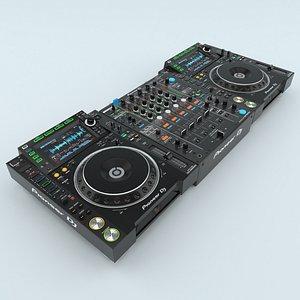 3D Professional DJ Player Pioneer CDJ 2000NXS2 and Mixer Pioneer -900NXS2