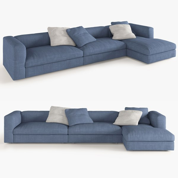 3d Model Corner Sofa Semi Large Size, What Size Is A Corner Sofa