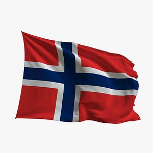 Realistic Animated Flag - Microtexture Rigged - Put your own texture - Def Norway 3D model