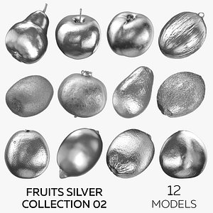 3D Fruits Silver Collection 02 - 12 models